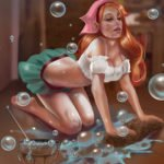 a woman on all fours cleans a floor while bubbles rise around her