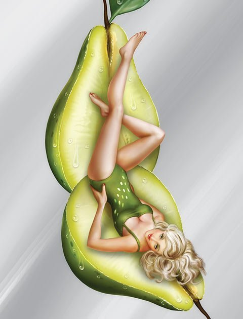 a woman inside of a pear