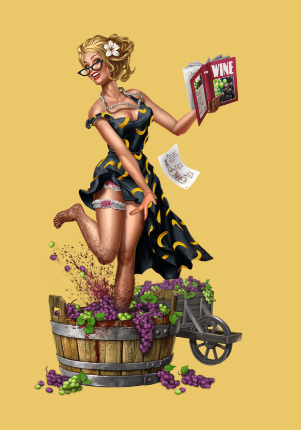 a woman with a magazine plays in a bucket of grapes