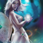a fairy woman with magical surroundings