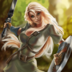 elfish woman with battle weapons in a forest