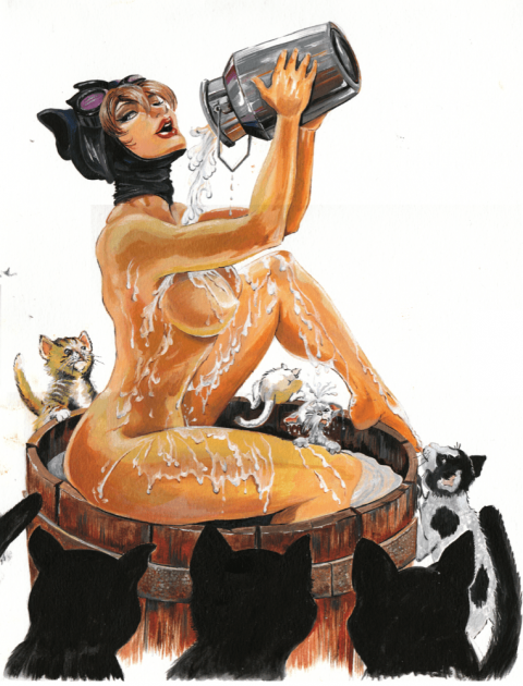 a woman, naked except for her catwoman mask, pours a liquid all over herself