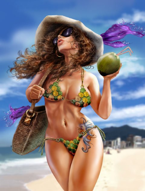 a woman in a bikini walks a beach holding a coconut and a handbag, a large hat on her head