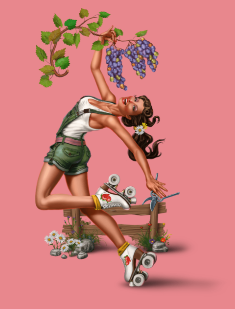 a young woman on rollerskates holds grapes