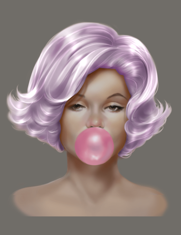 a pink-haired woman blows a pink bubble