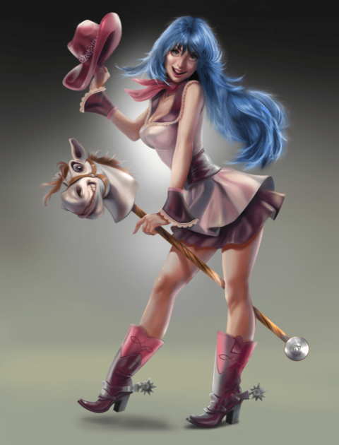 a woman riding a toy horse holds a purple cowboy hat, her blue hair and boots apparently making the horse happy