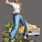 a man raking green grapes, a yellow vintage pickup in the background