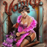 a woman dressed for bed with a pink boa and purple poodle